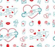 Coeur d'image de vecteur, mains, rose, cartes de jeu, anneau, ballon, bougies, ange, lèvres illustration stock