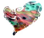 Coeur d'isolement en tonalités en pastel et cire d'aquarelle Image stock