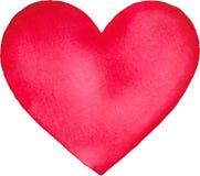 Coeur d'isolement peint par aquarelle rose Images stock