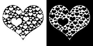 Coeur d'isolement sur noir et blanc Images stock