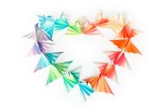 Coeur d'oiseaux d'Origami Photo stock