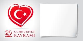 coeur d'olsun de kutlu de Cumhuriyet Bayrami de 29 ekim et blanc de bannière de drapeau Image stock