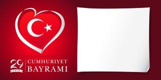 coeur d'olsun de kutlu de Cumhuriyet Bayrami de 29 ekim et rouge de bannière de drapeau Photos libres de droits