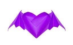 Coeur d'origami avec des ailes de batte Photos libres de droits