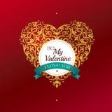 Coeur d'or, salutations de jour du ` s de Valentine Photos libres de droits