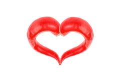Coeur d'un rouge ardent de poivre de s/poivron Photographie stock