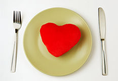Coeur d'une plaque Photo libre de droits