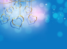 Coeur d'or Valentine Blue Background Photos libres de droits