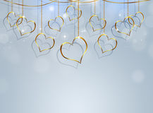 Coeur d'or Valentine Bright Background Image libre de droits