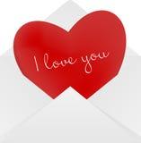 Coeur dans l'enveloppe Photographie stock libre de droits