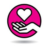 Coeur dans l'icône de mains illustration stock
