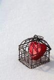 Coeur dans la cage dans la vue de portrait de neige Photographie stock libre de droits