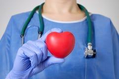 Coeur dans la main du chirurgien Photographie stock libre de droits
