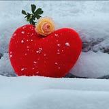 Coeur dans la neige Photos stock
