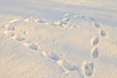 Coeur dans la neige Photographie stock