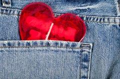 Coeur dans la poche Photographie stock libre de droits