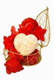 Coeur dans le cadre actuel avec la fleur Images stock