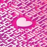 Coeur dans le labyrinthe image 3D dans la projection isométrique Relations complexes des personnes Image stock