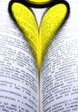 Coeur dans le livre Photos stock
