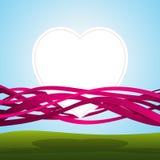 Coeur dans les bandes roses Photo stock