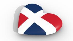 Coeur dans les couleurs du drapeau de la République Dominicaine, sur un fond blanc, dessus du rendu 3d illustration stock