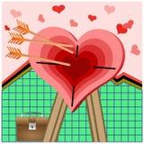 Coeur dans les environnements des flèches. Photo stock