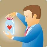Coeur dans une bouteille Photo libre de droits