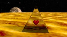 Coeur dans une pyramide sur une planète de l'espace. Image stock