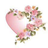 Coeur dans une trame des fleurs Photo libre de droits