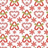 Coeur de bâton de sucrerie de Noël de vecteur sans couture illustration libre de droits