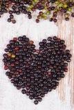 Coeur de baie de sureau fraîche sur le vieux fond en bois, symbole de l'amour Images libres de droits