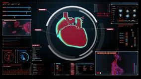 Coeur de balayage Système cardio-vasculaire humain Technologie médicale illustration stock