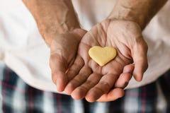 Coeur de biscuit dans des mains Photo stock