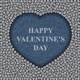 Coeur de blues-jean avec des paillettes Photo libre de droits