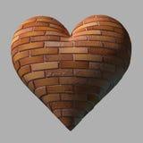 Coeur de brique d'isolement Photos stock