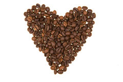 coeur de café d'haricot de fond effectué Photographie stock libre de droits