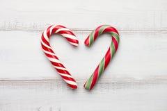 Coeur de cannes de sucrerie de menthe poivrée Photo stock
