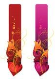 Coeur de cantains de drapeaux et ornement floral Image libre de droits