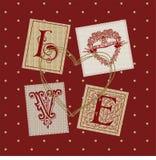Coeur de carte d'amour de Valentine Images libres de droits