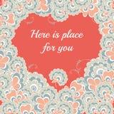 Coeur de carte de jour de valentines de fleurs Images libres de droits