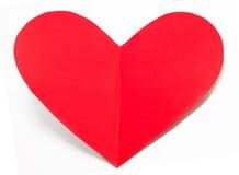 Coeur de carte de vacances du jour de valentines de papier d'isolement Photographie stock