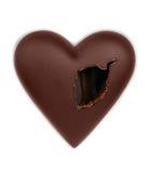 Coeur de chocolat percé avec un trou Images libres de droits