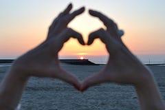 Coeur de coucher du soleil Images libres de droits