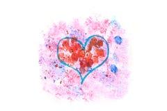 Coeur de couleurs d'eau Photographie stock libre de droits