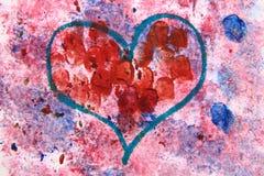 Coeur de couleurs d'eau Images libres de droits