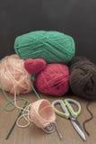 Coeur de crochet de décorations de crochet de Valentine Images libres de droits