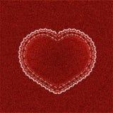 Coeur de denim avec la dentelle Photographie stock