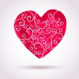 Coeur de dentelle d'aquarelle de vintage, backgr de carte de vecteur de jour de valentines Images libres de droits