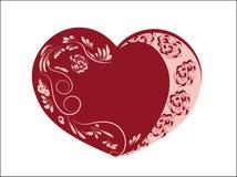 Coeur de dentelle rose rouge Photos stock