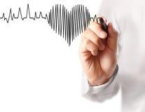Coeur de dessin de main avec le marqueur Photo libre de droits